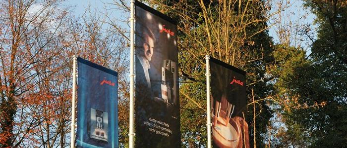 Con Heimgartner le vostre bandiere pubblicitarie saranno un richiamo visivo